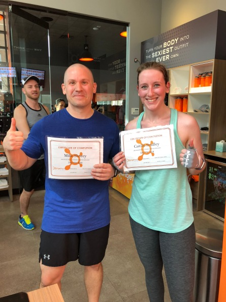 My friend Mike and I after completing a dry triathlon at OrangeTheory Fitness Preston Hollow.